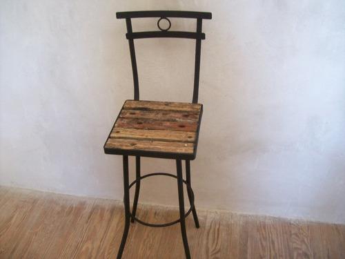 Silla butaca taburete alta de madera pique y hierro nuevas for Sillas montevideo