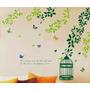 Vinilos Adhesivo Decorativo - Jaula Con Ramas Verdes -