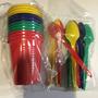 Vasos + Cucharas .x12 C/ U - Descartables Cumpleaños Niños