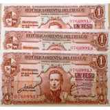 Lote De 3 Billetes Nuevos  Correlativos Rou 1 Pesos Año 1939
