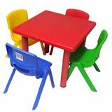 Mesa De Plástico Para Niños + 4 Sillas Varios Colores