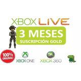 Xbox Live Gold 3 Meses / Xbox One Y Xbox 360 / Código