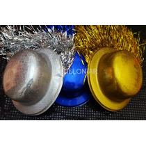 24d29ccafc589 Sombrero Bombín Plástico Con Flecos Metalizados X 6 Unidades