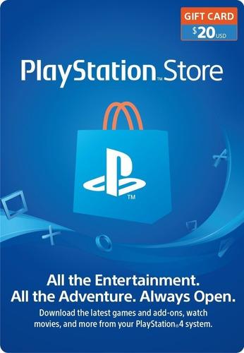 Playstation Store Tarjeta 20 Dolares Código Psn Region Eeuu