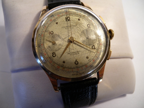 a8445746f43c Reloj Cronografo Hombre Antiguo Caja Oro 18k 750 Chronograph