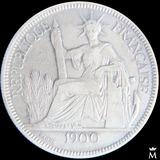 Mg* Indochina 1 Piastra 1900 Moneda Grande De Plata 25 Gr