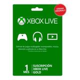 Xbox Live Gold 1 Mes 30 Días / Código Membresía Suscripción