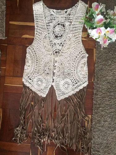 Chaleco Crochet Blanco Con Flecos Largos Gamuza Tostada M-l fba5f35d8bc1