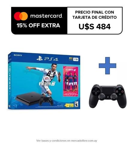 Consola Playstation 4 Ps4 Slim 1tb + Fifa 2019 + 2 Controles