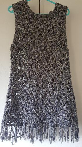 Chaleco Artesanal Crochet En Lana.t.l.nuevo.azules C Grises. acd7270e2b69