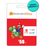 Nintendo Eshop 50 Dólares Tarjeta Gift Card / Switch 3ds Wii
