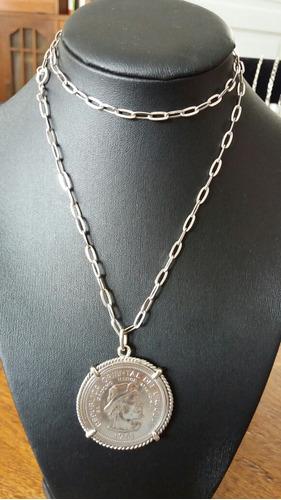 f2c276a03c68 Gran Cadena Plata 900 Con Gran Dije Plata Moneda Del Gaucho