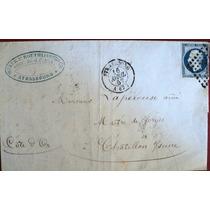 Osl Sello 14a Francia En Carta Circulada En 1857
