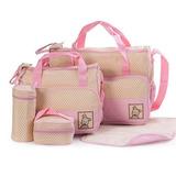 Super Set Bolso Maternal Bebe 5 Piezas Colores Con Cambiador