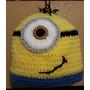 Gorro Crochet Minion. Adolescentes/adultos. Cabeza 56-58 Cm