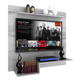 Panel Rack Tv Led Mueble De Pared Modular Blanco O Malbec