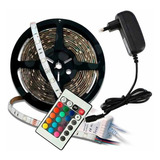 Cinta Luces Led Tira Rgb 5m Con Transformador + Control ®