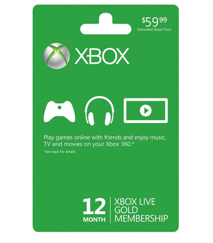 Xbox Live Gold Tarjeta Codigo 12 Meses 1 Año Xbox One 360