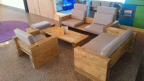 sofs esquineros juego madera maciza