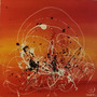 Cuadro Abstracto Moderno Original Colorido Rojo Eridie444