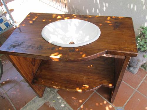 Bachas Para Baño De Madera:bajo mesada de baño madera maciza rustico sin bacha