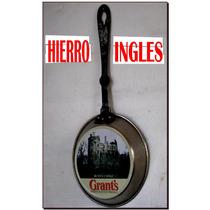 Hierro Sarten Ingles Huevos Poche Arte Antiguo No Roble