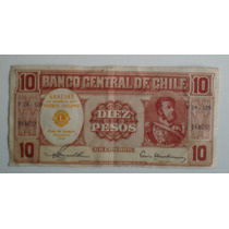 Billete Chile 10 Pesos 1960 Conmemor Club De Leones Carrasco