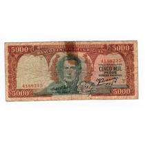 Uruguay Antiguo Billete Cinco Mil 5000 Pesos Año 1967