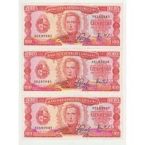 Billetes Uruguay 1967 De 100 Pesos 3 Correlativos