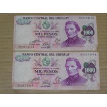 2 Billetes Uruguay 1974 - 1000 Pesos Serie A Muy Bien