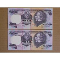 Billete Uruguay 1980 - N$ 1.000 N Pesos Correlativos Serie B