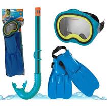 Set De Buceo Para Niños Master Class Snorkel Patas De Rana