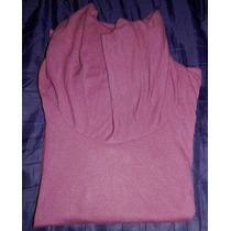Remera Púrpura Manga Larga Modal-cuello Bote-talle L-nuvó