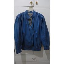 Campera De Cuero Azul. Talle M . Muy Original. Usada.