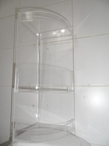 Estantes De Acrilico Para Baño:Esquinero 3 Pisos Baño Acrílico Transparente 40cm Hecho Aca – $ 740