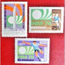 Osl Sellos 880 Al 882 Uruguay. Mundial Fútbol Alemania 1974.