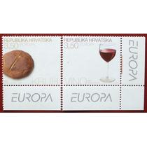 Osl Serie Sellos De Croacia. Europa 2005 Vino Gastronomia