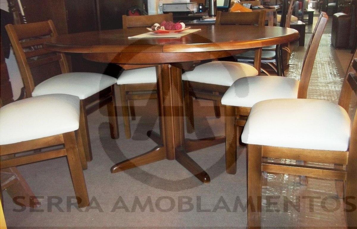 Juego de comedor mesa redonda extensible 6 sillas tapizadas for Juego de comedor de madera de 6 sillas