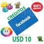 Facebook Tarjeta Código Prepaga Creditos $10 Dólares Fb