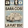 Auto Italiana - Fiat 850 - Lámina 45 X 30 Cm.