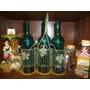 Botellas Labradas Hermoso Color En Cesta De Hierro Y Mimbre.