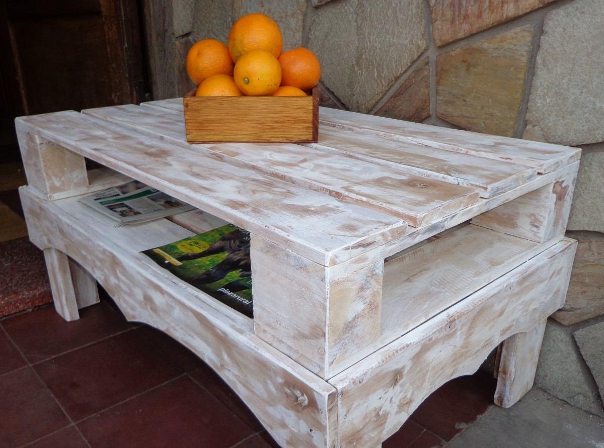 mesa ratona madera hecha de pallet rustica en
