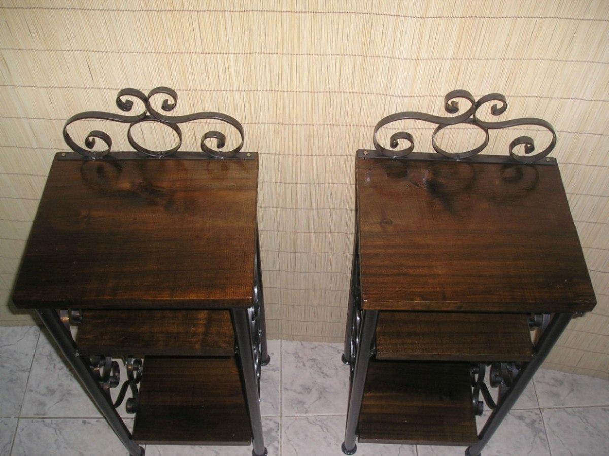 Mesas de luz hierro y madera en mercadolibre - Mesas madera y hierro ...