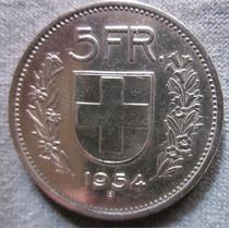 Antigua Moneda De Suiza 5 Francos 1954 B Plata