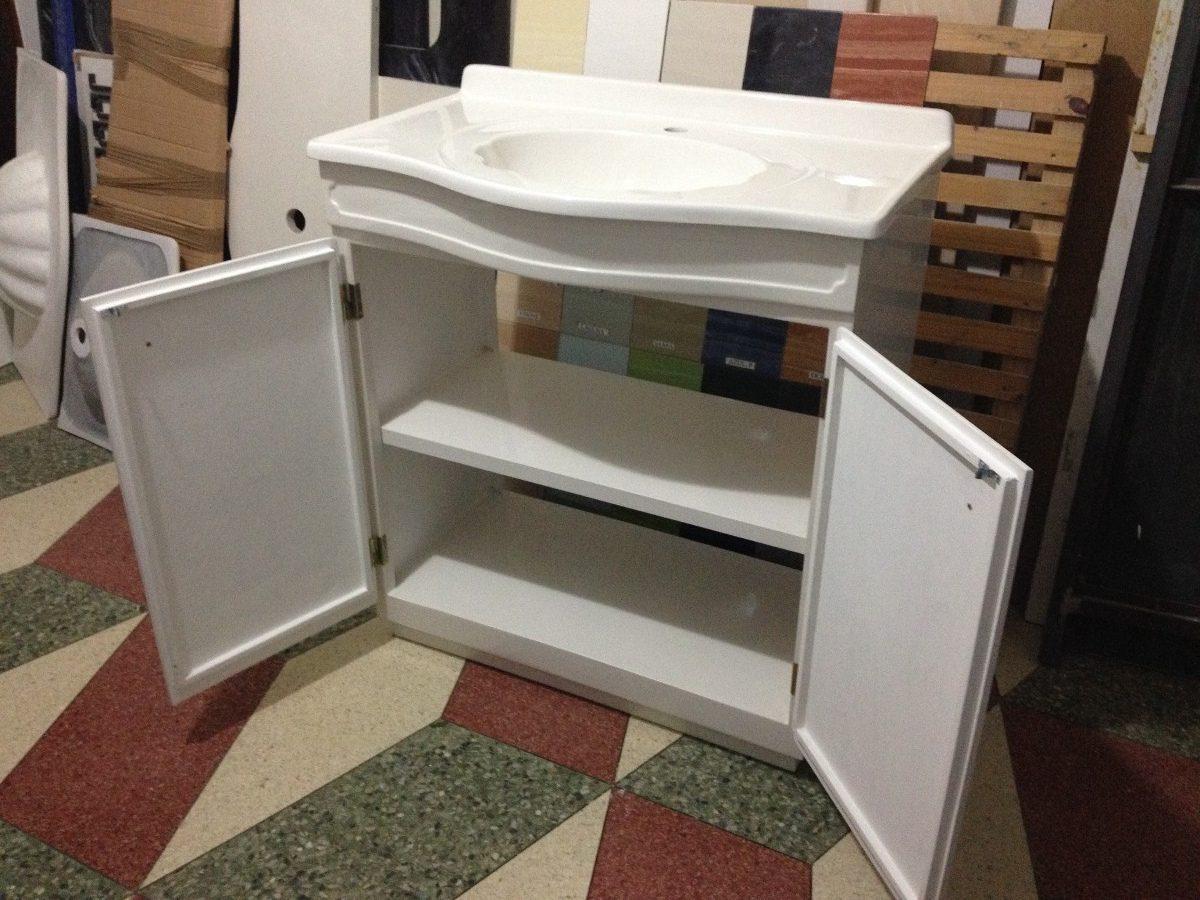 Mueble Baño Amarillo:Mueble De Marmolina Para Baño Color Blanco Con Lavatorio – $ 8800,00