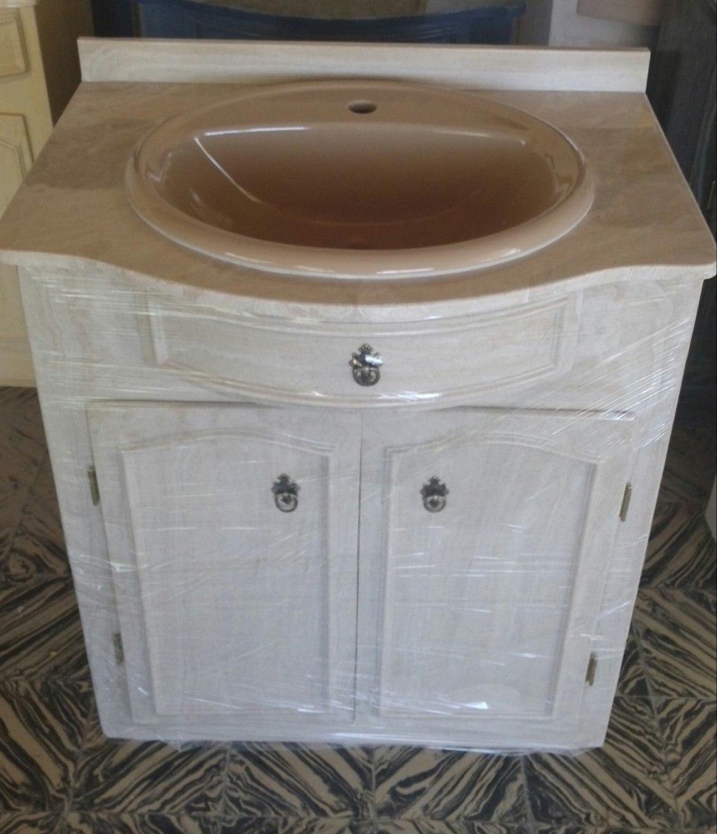 Bachas Para Baño Con Pie:Mueble Para Baño En Marmol Sintetico Con Mesada Y Bacha – $ 9900,00