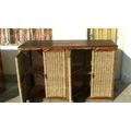 Mueble Rustico En Mimbre Y Cardo Con Tapa De Madera Masiza