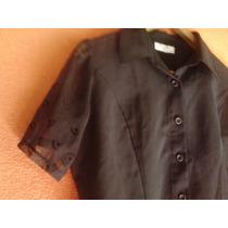 Camisa Negra Con Mangas En Transparencia