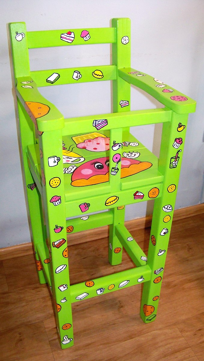 Oferta silla para comer de beb de madera pintada for Sillas para bebes de madera