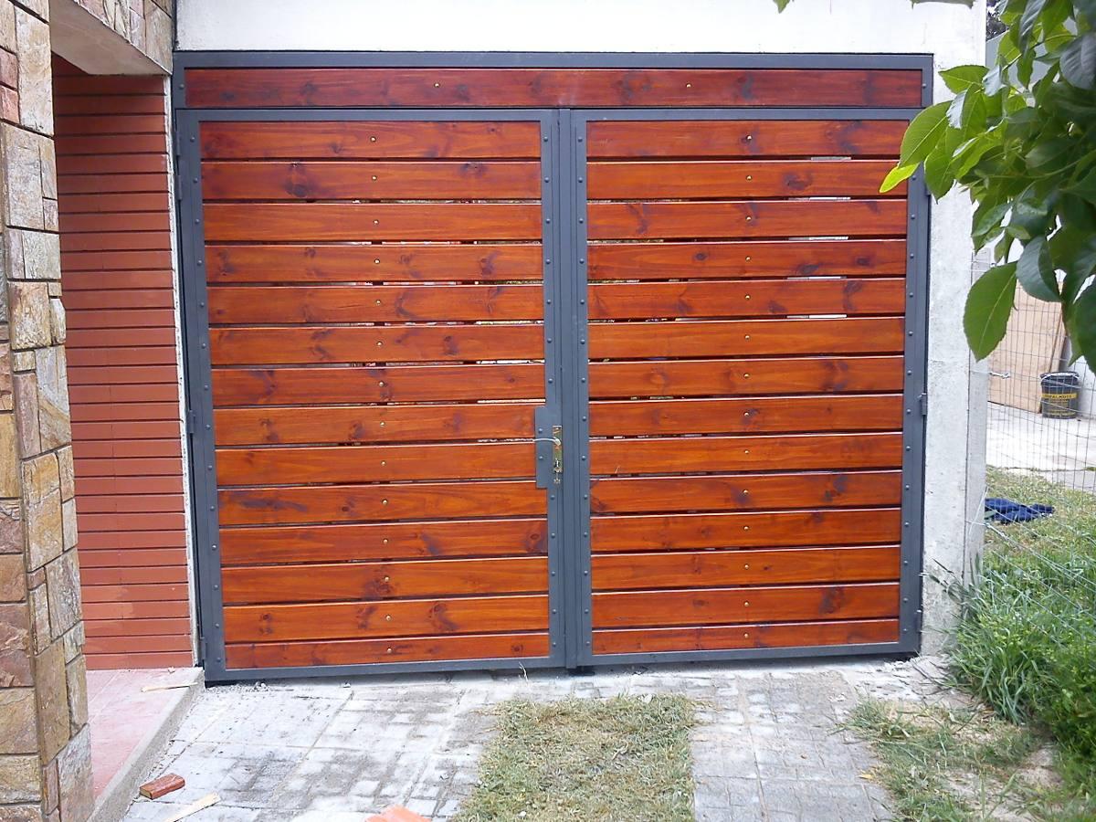 portones hierro y madera